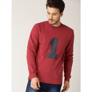 United Colors of Benetton Men Red Applique Detail Sweatshirt