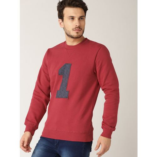 United Colors of Benetton Men Red Applique Detail Sweatshirt