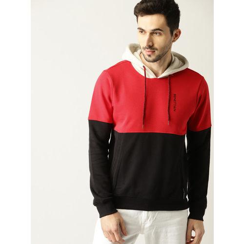 United Colors of Benetton Men Red & Black Colourblocked Hooded Sweatshirt