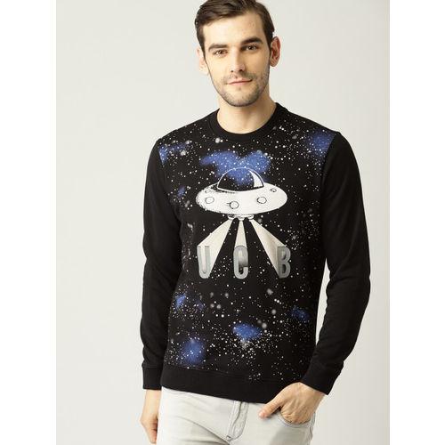 United Colors of Benetton Men Black Printed Sweatshirt