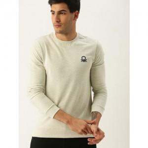 United Colors of Benetton Men Off-White Solid Sweatshirt