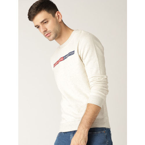 United Colors of Benetton Men Off-White Solid Sweatshirt