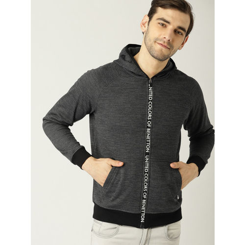 United Colors of Benetton Men Charcoal Grey Solid Hooded Sweatshirt
