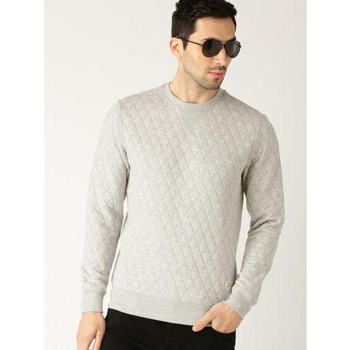 United Colors of Benetton Men Grey Melange Quilted Sweatshirt