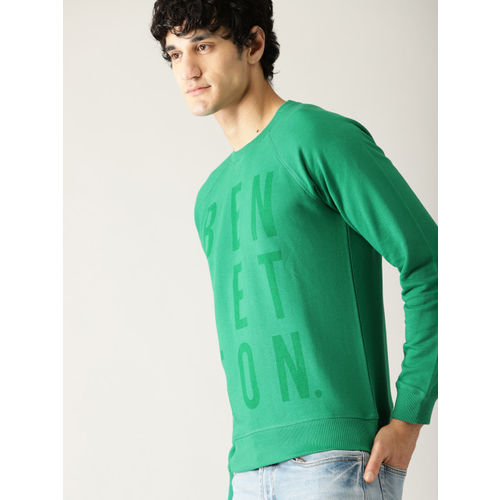 United Colors of Benetton Men Green Printed Sweatshirt