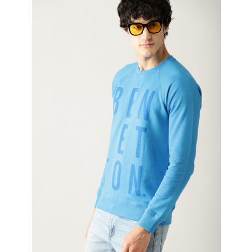 United Colors of Benetton Men Blue Printed Sweatshirt