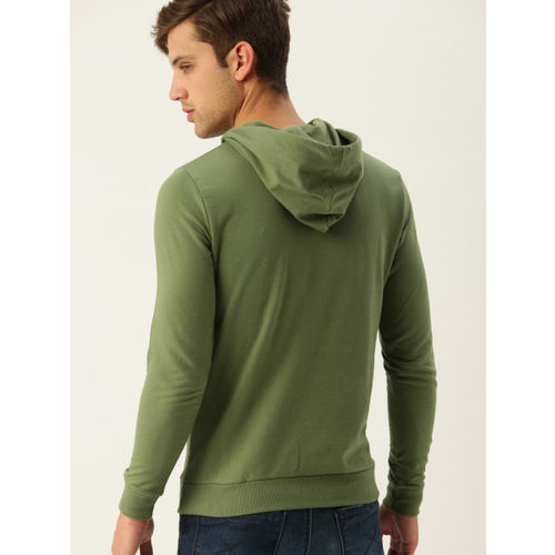 United Colors of Benetton Men Olive Green Printed Hooded Sweatshirt