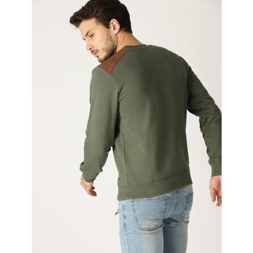 United Colors of Benetton Men Olive Green Solid Sweatshirt