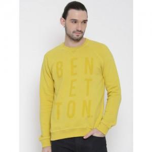 United Colors of Benetton Yellow Printed Sweatshirt