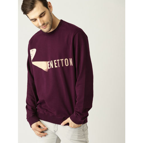 United Colors of Benetton Men Burgundy Printed Sweatshirt