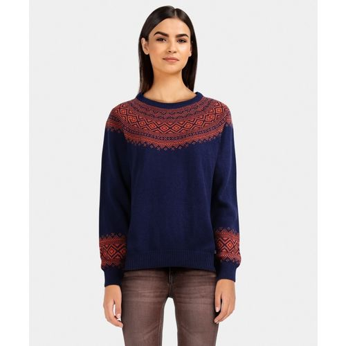 United Colors of Benetton Self Design Round Neck Casual Women Blue Sweater