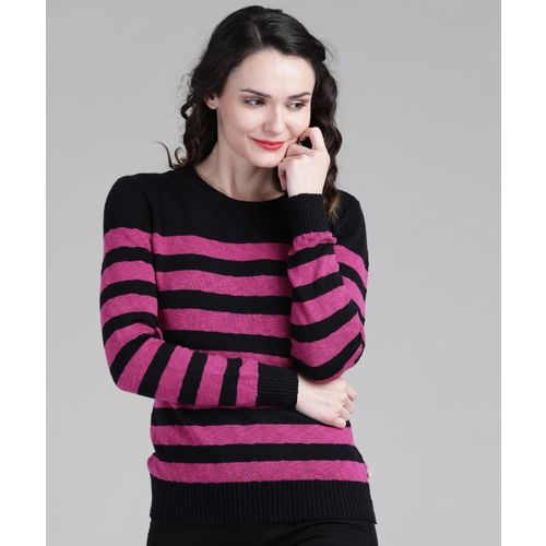 United Colors of Benetton Striped Round Neck Casual Women Black, Pink sweater