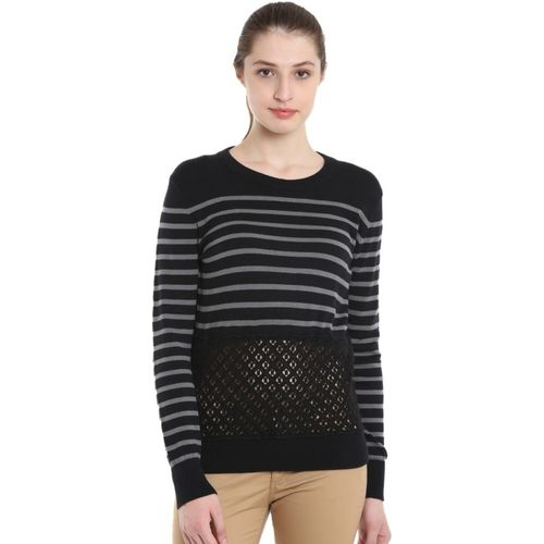 United Colors of Benetton Striped Round Neck Casual Women's Black Sweater