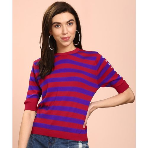 United Colors of Benetton Striped Round Neck Casual Women Red, Blue Sweater