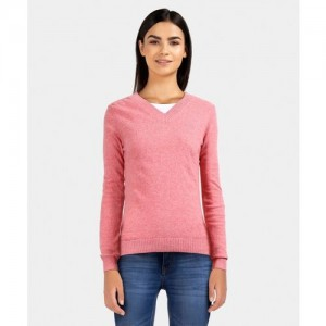 United Colors of Benetton Solid V-neck Casual Women Pink Sweater
