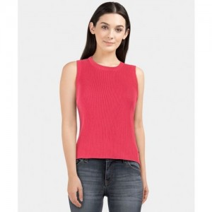 United Colors of Benetton Solid Round Neck Casual Women Pink Sweater