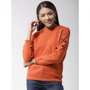 Madame Women Rust Orange Solid Sweatshirt
