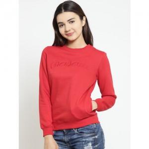Madame Women Red Solid Sweatshirt