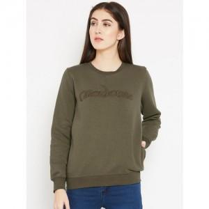 Madame Women Olive Green Solid Sweatshirt