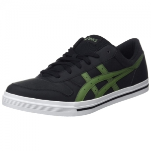 ASICS Tiger Black Leather Lace Up Sneakers