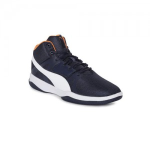 6cf90063f75 Puma Men Navy Blue Solid Rebound Street BSK IDP Mid-Top Sneakers