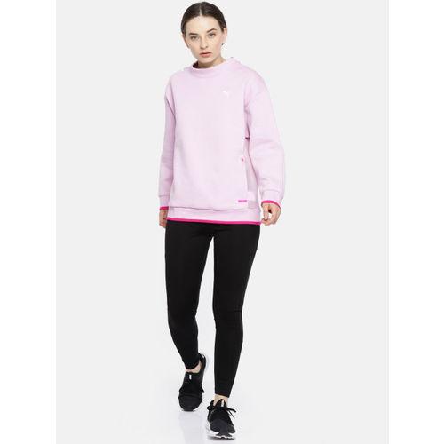 Puma Women Pink Solid Chase Crew Sweatshirt