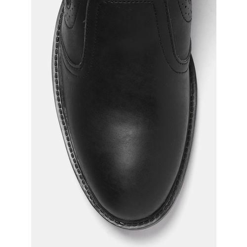 Roadster Men Black Solid Mid-Top Flat Boots