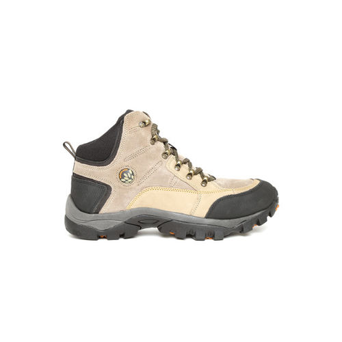 Woodland Men Beige Solid Leather Mid-Top Flat Boots