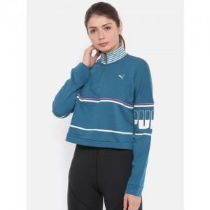 Puma Women Blue Striped REBEL Half zip Turtleneck TR Sweatshirt