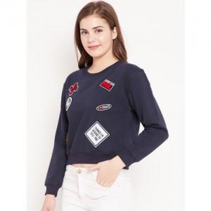 Madame Women Navy Blue Applique Detail Crop Sweatshirt