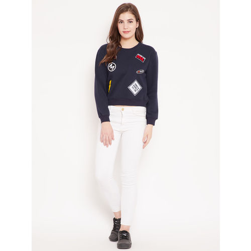 Madame Women Navy Blue Applique Detail Crop Sweatshirt