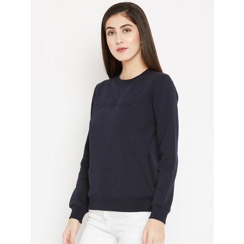 Madame Women Navy Blue Solid Sweatshirt