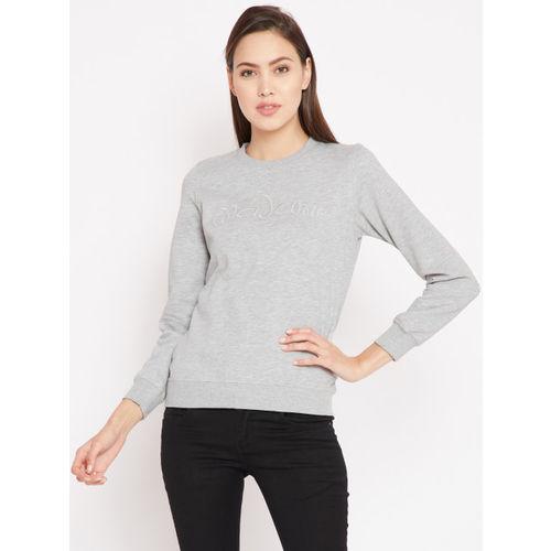 Madame Women Grey Melange Solid Sweatshirt