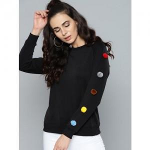 Kook N Keech Women Black Solid Sweatshirt