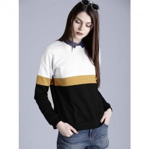 Kook N Keech Women Black & White Colourblocked Sweatshirt