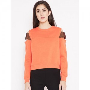 Madame Women Orange Cold Shoulder Sweatshirt
