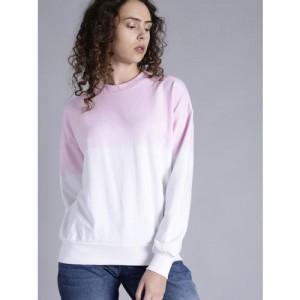 Kook N Keech Women Pink & White Dyed Sweatshirt
