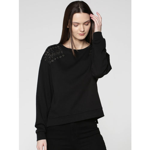 ONLY Women Black Solid Sweatshirt with Embellished Detail