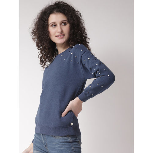 Madame Women Blue Embellished Sweatshirt