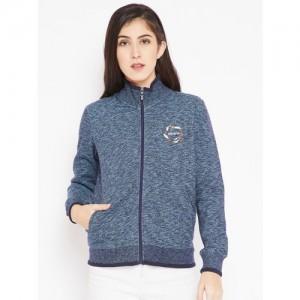 Madame Women Blue Sweatshirt with Grindle Effect