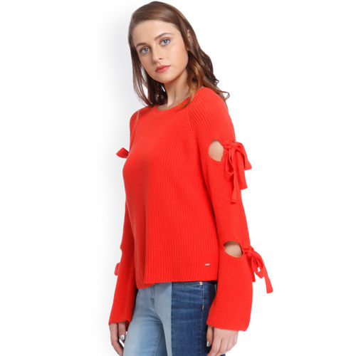 ONLY Women Red Self-Design Sweatshirt