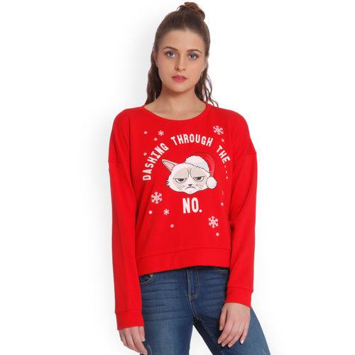 ONLY Women Red Printed Sweatshirt