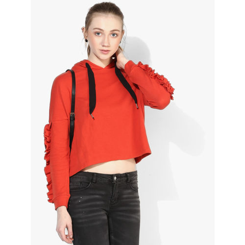 ONLY Red Solid Hoodie