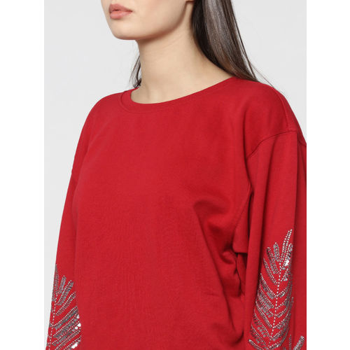 ONLY Women Red Embellished Pullover Sweatshirt