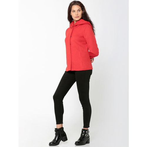 ONLY Women Red Solid Hooded Sweatshirt
