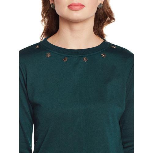 Belle Fille Women Teal Green Solid Sweatshirt