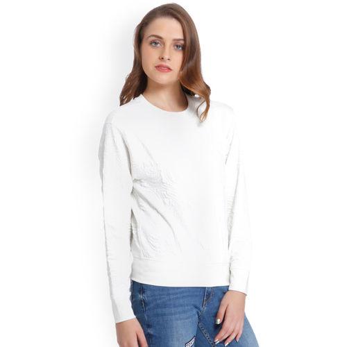 ONLY Women Off-White Solid Sweatshirt