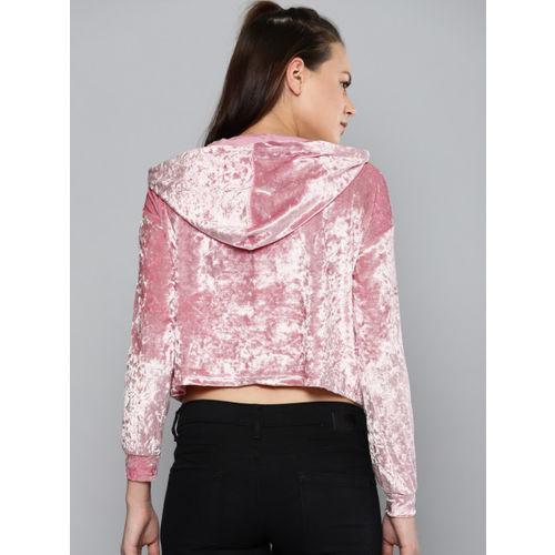 Kook N Keech Women Pink Solid Hooded Crop Sweatshirt