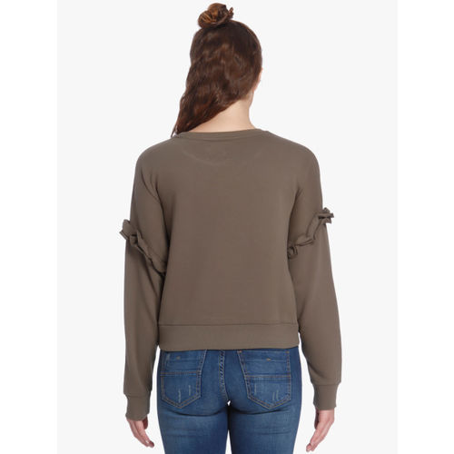 ONLY Brown Solid Sweatshirt