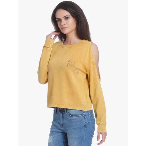 ONLY Mustard Yellow Embroidered Sweatshirt